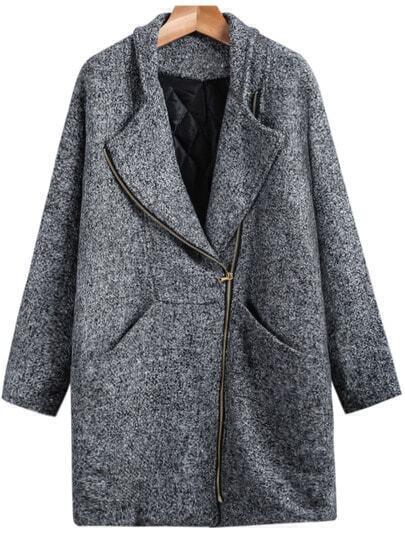 Grey Long Sleeve Pockets Cocoon Coat