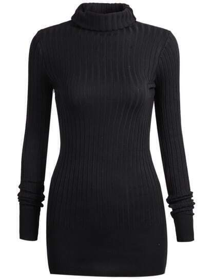 Black Long Sleeve High Neck Sweater