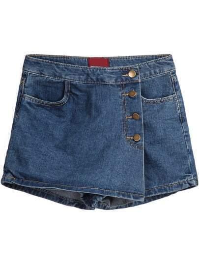 Navy Asymmetric Pockets Skirt Shorts