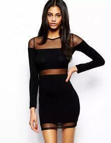 Black Contrast Sheer Mesh Bodycon Mini Dress