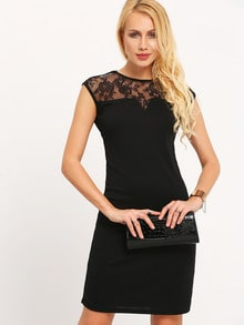 Black Contrast Mesh Embroidered Slim Dress