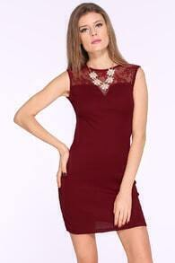 Wine Red Contrast Mesh Embroidered Slim Dress