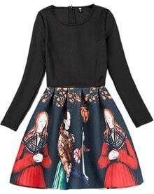 Black Long Sleeve Beauty Print Flare Zippered Dress