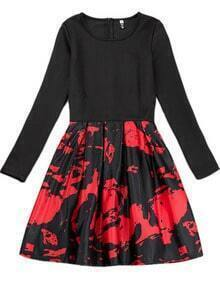 Black Red Long Sleeve Floral Pleated Dress