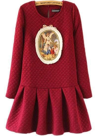 Red Long Sleeve Slim Flouncing Dress