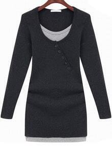 Black Long Sleeve Buttons Bodycon Dress