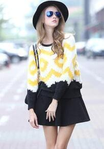 White Long Sleeve Zigzag Knit Sweater