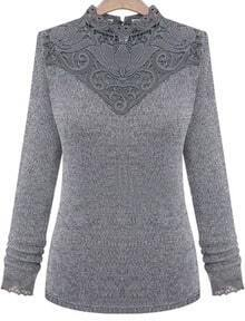 Grey Long Sleeve Contrast Lace Sweater