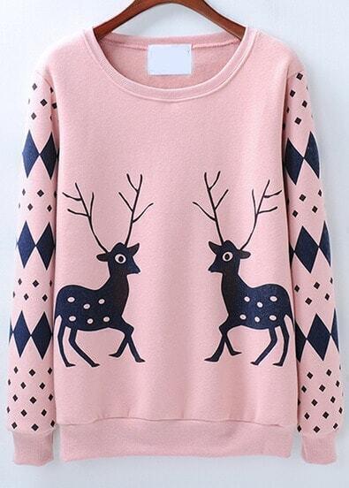 Pink Long Sleeve Diamond Deer Print Sweatshirt