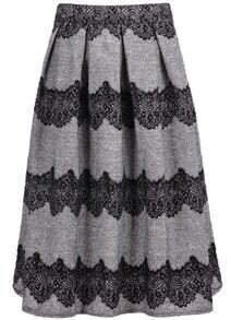Grey Lace Pleated Skirt
