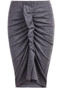 Grey Elastic Pleated Bodycon Skirt