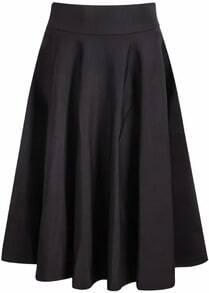 Black Elastic Pleated Midi Skirt