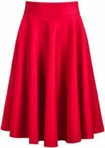 Red Elastic Pleated Midi Skirt