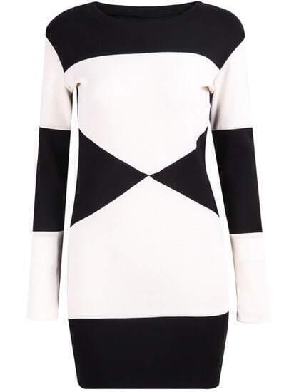 Black White Long Sleeve Knit Bodycon Dress