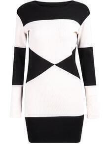 Black White Long Sleeve Knit Bodycon Dress
