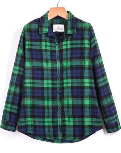 Green Blue Lapel Long Sleeve Plaid Pockets Blouse