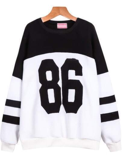 Black White Long Sleeve 86 Print Sweatshirt