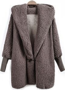 Brown Hooded Batwing Long Sleeve Loose Coat