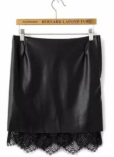 Black PU Leather Contrast Lace Skirt