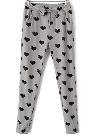 Grey Drawstring Heart Print Pant