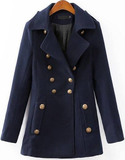 Navy Long Sleeve Notch Lapel Coat
