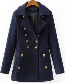 Navy Long Sleeve Notch Lapel Coat
