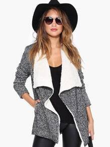 Grey Long Sleeve Faux Fur Outerwear