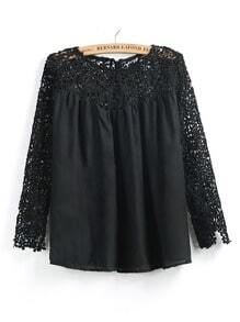 Black Contrast Lace Long Sleeve Loose Blouse