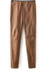 Khaki Slim PU Leather Pant