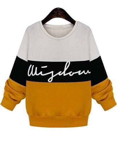 Colour-block Batwing Loose Sweatshirt