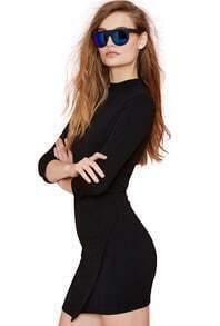 Black Round Neck Slim Asymmetrical Bodycon Dress