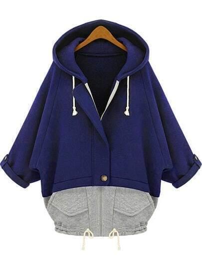 Blue Grey Hooded Pockets Loose Sweatshirt