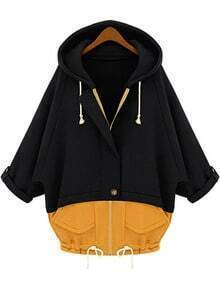 Black Yellow Hooded Pockets Loose Sweatshirt