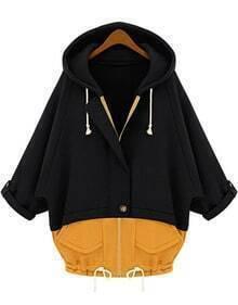 Black Yellow Hooded Pockets Loose Sweatshirt