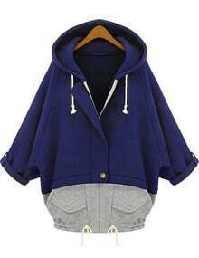Blue Grey Hooded Pockets Loose Sweatshirt
