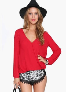 Red V Neck Long Sleeve Loose Blouse
