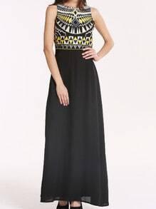 Black Sleeveless Tribal Embroidery Maxi Dress