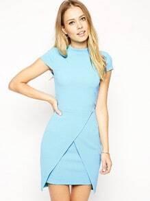 Blue Short Sleeve Bodycon Dress