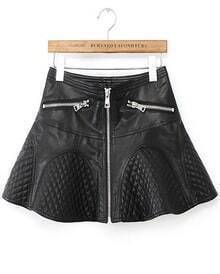 Black Zipper A Line PU Leather Skirt