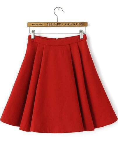 Red Zipper Woolen Skirt