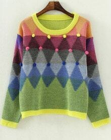 Green Long Sleeve Twisted Ball Loose Sweater