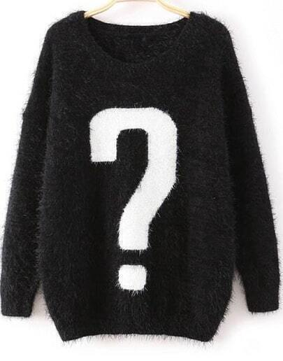 Black Long Sleeve Question Mark Print Mohair Sweater
