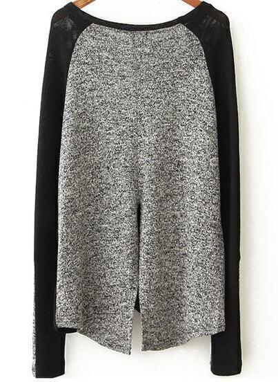 Black Contrast Grey Loose Knit Sweater