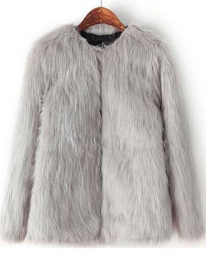 Grey Long Sleeve Crop Faux Fur Coat
