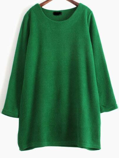 Green Long Sleeve Loose Knit Sweater