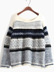 Blue Long Sleeve Ombre Striped Knit Sweater