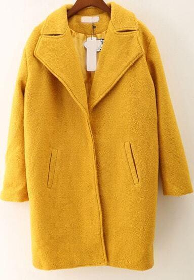 Yellow Lapel Long Sleeve Loose Woolen Coat