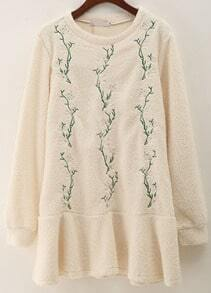 Apricot Long Sleeve Leaves Embroidered Dress