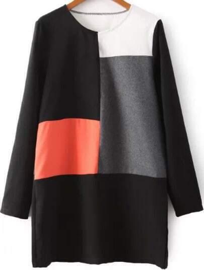 Black Grey Contrast Woolen Long Sleeve Loose Dress