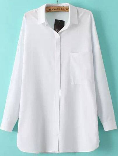White Long Sleeve Pocket Lapel Blouse